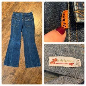 VTG 1970 Levi's For Gals Orange Tab Flare Jeans
